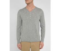 Grauer Leinen-Pullover mit Knopfleiste