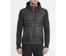 Hooded-Jacke aus Strick-Mix und schwarze Daunenjacke Illuga