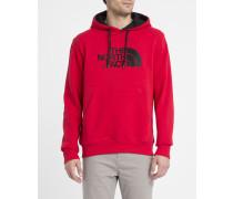 Roter Kapuzensweater mit Tasche und Brustlogo