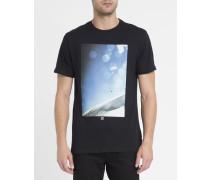 Schwarzes T-Shirt mit Bokeh-Print