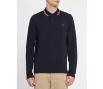 Marineblaues, langärmliges Slim-Fit-Poloshirt Classic