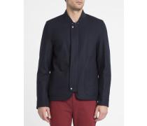 Marineblaue Wolljacke mit Reißverschluss, verdeckter Patte und aufgesetzten Taschen