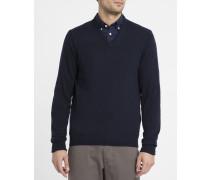 Blauer Pullover mit V-Ausschnitt und Kontrastellenbogen
