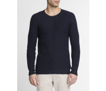 Pullover Runder Kragen William Masche in Wabenform Marineblau