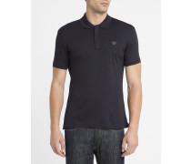 Marineblaues Slimfit-Poloshirt mit Reißverschluss-Kragen und Brustlogo