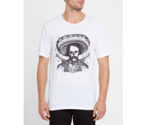 Weißes T-Shirt mit Rundhalsausschnitt und mexikanischem Print T