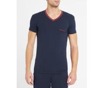Marineblaues T-Shirt mit V-Ausschnitt und Armani-Logo
