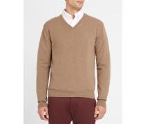 Beigefarbener Pullover Lambswool mit V-Ausschnitt