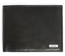Schwarzes Leder-Portemonnaie mit Klappen-Münzfach