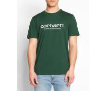 Dunkelgrünes T-Shirt mit Rundhalsausschnitt und WIP-Logo
