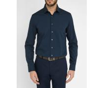 Marineblaues Hemd Slim Fit aus Stretch-Popeline