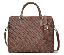 Lucas Leather Slim Laptop Bag - Dark Choc VT