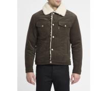 Khakibraune Trucker Jacket aus Velourssamt mit Wollfutter