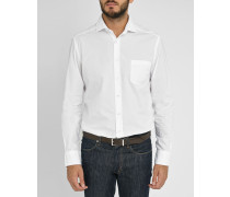 Weißes Slimfit Hemd aus Popeline mit Logo