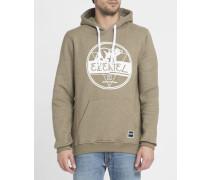 Beige melierter Hoodie aus gebürsteter Baumwolle mit Cons-Logo