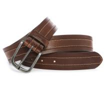 Brauner übernähter Ledergürtel Stitch