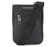 Schwarze kleine Tasche Mini Flat Essential aus genarbtem PU