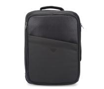 Blauer Kofferrucksack aus zwei Materialien mit All-over-Logo