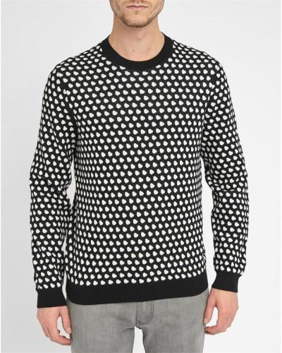 marc jacobs herren schwarzer pullover mit rundhalsausschnitt und mit wei en punkten shield. Black Bedroom Furniture Sets. Home Design Ideas