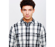 Labour Shirt Flannel Cotton Check White/Black