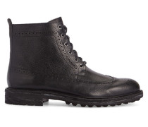 Schwarze Lederboots Nickson Commando Sole Longwing