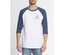 T-Shirt ML Raglan mit Aufdruck Next Round 2 in Weiß und Marineblau