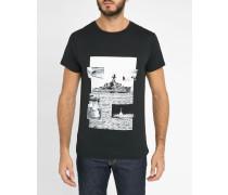 T-Shirt mit Rundhalsausschnitt Schwarz Print Jordy