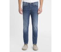Nachtblau ausgewaschene Slim-Jeans ED-80