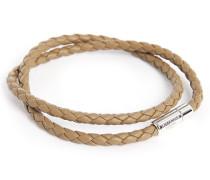 Doppelreihiges Armband aus braunem Leder Scoubidou Pop, 38 cm