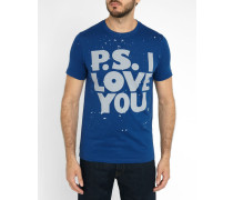 Blaues T-Shirt mit Love-You-Print