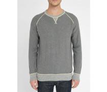 Graues Sweatshirt aus Baumwoll-Woll-Strick
