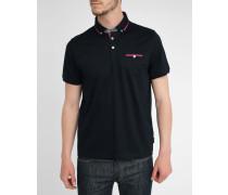 Marineblaues Jersey-Poloshirt mit abgesetztem Kragen und Tasche