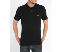 Schwarzes kurzärmeliges Poloshirt mit -Logo