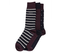 Dreierpack Socken mit Motiv in Bordeauxrot