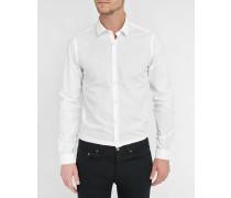 Körpernah geschnittenes Hemd aus weißer Baumwolle