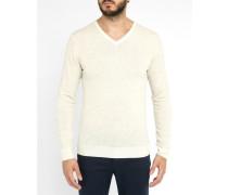 Weißer Pullover Hauk mit V-Ausschnitt Pr