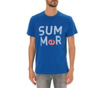 Blaues bedrucktes T-Shirt Summer