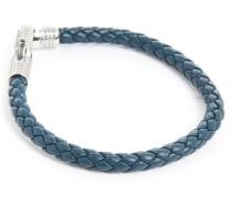 Armband Ziggy aus Silber und blauem italienischen Leder 19,5 cm