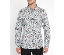Weißes Popeline-Hemd Tailored Perforated Print