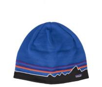 Blaue Mütze mit Logo