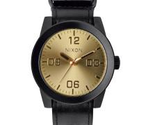 Schwarze Uhr Corporal Ziffernblatt goldfarben Uhrarmband schwarz