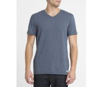 Blaues T-Shirt Basic mit V-Ausschnitt