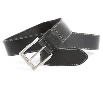 Schwarzer Ledergürtel im Used-Look Basic