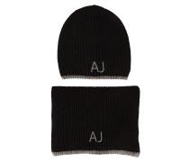 Schwarzes Mützen-Schal-Set mit AJ-Logo