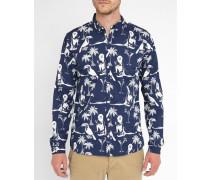 Blaues Slim-Hemd Ramon mit Printmotiv Pr