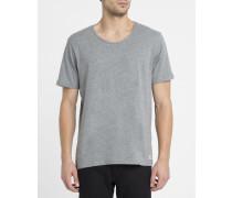 Graues Basic-T-Shirt Crew mit weiten Halsausschnitt