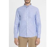 Blaues anliegendes Oxford-Hemd mit Button-Down-Kragen Rogers