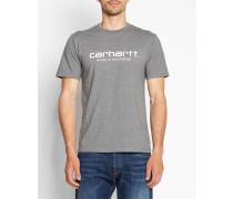 Dunkelgrau meliertes T-Shirt mit Rundhalsausschnitt und WIP-Logo
