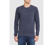 Pullover mit Rundhalsausschnitt und Brustlogo in Blau und Grau Maniky