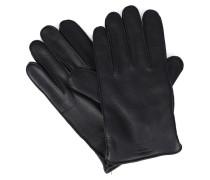 Schwarze Handschuhe aus genarbtem Hirschleder mit Armani-Logo und Innenseite aus Wolle